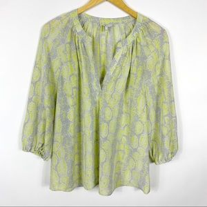 Joie M Pearline Snake Print Green Gray Silk Top